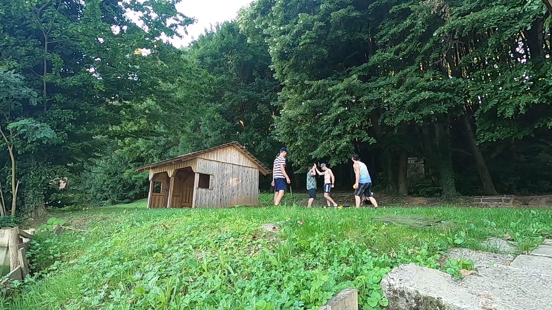 Patrick, Josef, Daniel und Silviu beim Spike Ball